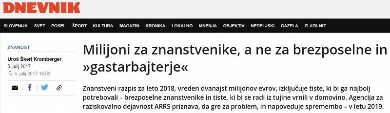 Izjava o razpisu ARRS za podoktorske projekte