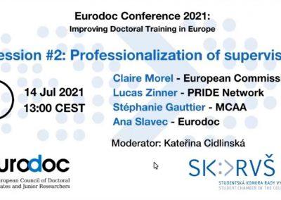 Eurodocova konferenca o izboljšanju doktorskega usposabljanja v Evropi – julij 2021
